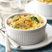 Egg and Potato Casserole - diced hash browns, onions, peppers, broccoli and/or asparagus, Canadian-style bacon and/or cooked ham, eggs, seasonings, & cheese.
