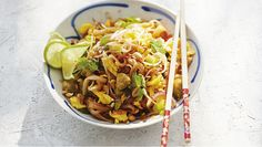 Stir-fries like Pad Thai require some multi-tasking. Prep the sauce and stir-fry the chicken and veggies while the noodles soften and in 15 min., dinner will be ready to serve.