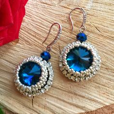 Серьги с риволли  Синие серьги Вышитые серьги Серьги с кристаллами