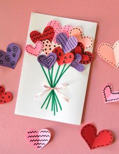 ▷ 1001 + Ideas on how to design birthday cards yourself - Die besten Geburtstagsideen - Valentinstag Kids Crafts, Diy Crafts To Do, Valentine Crafts For Kids, Mothers Day Crafts, Holiday Crafts, Valentine Treats, Handmade Birthday Cards, Diy Birthday, Homemade Fathers Day Gifts
