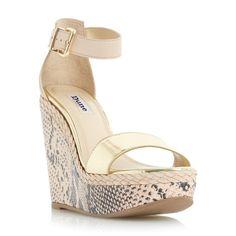 DUNE LADIES KANDY - Reptile Print Wedge Sandal - nude   Dune Shoes Online