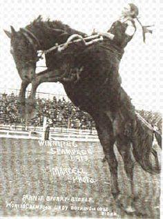 Cowgirl at Winnipeg rodeo 1913.
