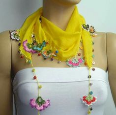 Items similar to Crocheted YELLOW scarf with handmade multi color oya flowers lace edge on Etsy - Lace Scarf Crochet Scarves, Crochet Shawl, Knit Crochet, Top Tejidos A Crochet, Lace Scarf, Crochet For Beginners, Crochet Accessories, Crochet Flowers, Knitted Hats