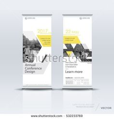 Yellow and white roll up banner design brochure flyer vertical template, vector x-banner and street business flag-banner, cover presentation abstract geometric background vertical layout