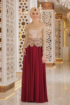 Tesettürlü Abiye Elbise - Pul Payet Detaylı Bordo Tesettür Abiye Elbise 2162BR