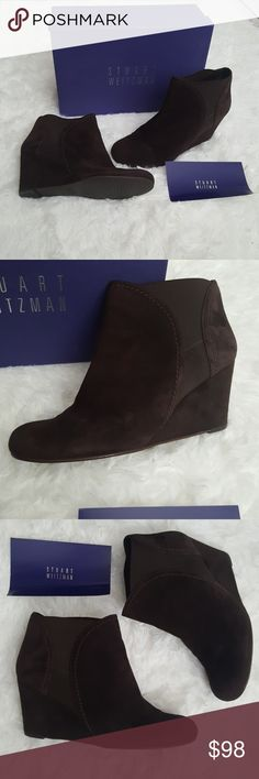 """NIB! Stuart Weitzman brown wedge booties New in box!!! Nice cola brown color with suede material. Beautiful wedge heel booties for fall and winter outfits & the perfect staple! 3"""" heel. Comes with  original box and authenticity card. Originally $375.00 Stuart Weitzman Shoes Ankle Boots & Booties"""