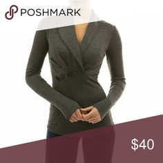 Shawl collar pleated long sleeve blouse w/ buttons Super cute cotton blend shawl collar long sleeve blouse. Pleated detail with 3 accent buttons. Dark Heather grey. 35% cotton, 65% polyester. Smoke free home PattyBoutik Tops