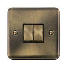 Curved Antique Brass Ingot 2 Gang 2 Way Plate Switch - Black - Black – Speedy Electrical