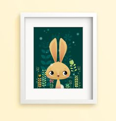 Nursery art bunny print kids room decor by IreneGoughPrints