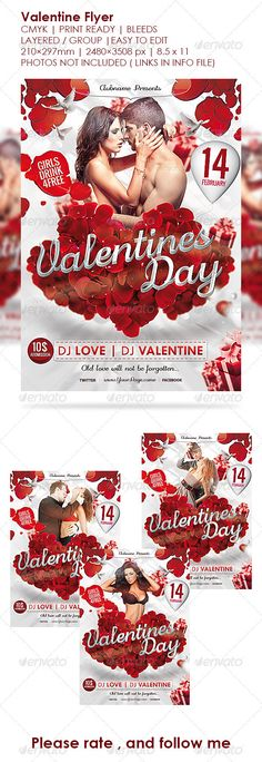 Valentine's Day Flyer Valentines Poster - Clubs & Parties Events