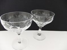 Vintage Edinburgh Crystal champagne saucers #peonyandthistle