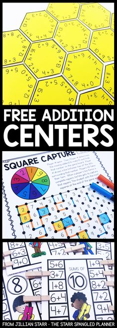 Addition Centers to help your students practice their addition math facts, strategies, and build fact fluency. A mix of games, logic puzzles, and hands on activities that are perfect for Kindergarten, First and Second grade math centers and stations! #mathpractice