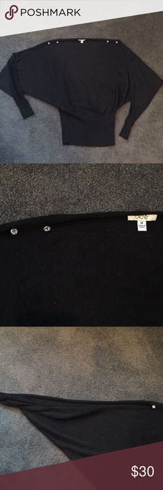 CACHÉ Black Sweater Lightly pre-owned, great condition!!! Sleeves are open, exposed arms. Cache Sweaters