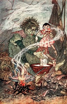 "The green fisherman … plunged him live or six times in the flour. ""Pinocchio"" illustrated by Charles Folkard (1911)"