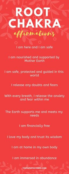 Affirmations are a very powerful tool when it comes to healing and balancing your chakras. Discover these 10 powerful Root Chakra Affirmations and start using them daily! Chakra For Beginners, Meditation For Beginners, Meditation Techniques, Buddhism For Beginners, Affirmations For Anxiety, Healing Affirmations, Mantras For Anxiety, Morning Affirmations, Chakra Meditation