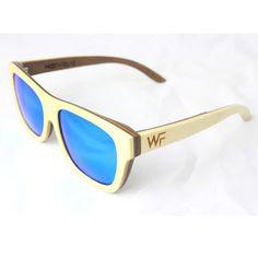 Wood Fellas Tanjung Sonnenbrille Beige/Blau, Holzsonnenbrille