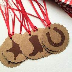 Cowboy gift tags with ribbons. Natural kraft Cowboy gift tags with ribbons. Wild West birthday by MyPaperPlanet Cowgirl Party, Cowboy Birthday Party, Horse Birthday, Horse Party, Birthday Party Favors, Birthday Parties, Cowboy Party Favors, Cowboy Party Decorations, Wild West Theme