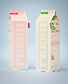 Milk carton packaging with an organic feel with the typography and soft colours used so it's not overpowering.