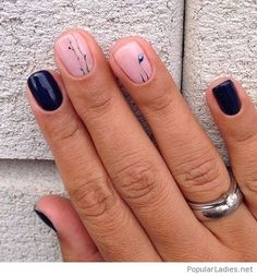 Navy and pink manicure with print