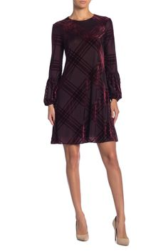 fffc3d52 Image of Taylor Plaid Burnout Baloon Sleeve Dress Plaid, Dresses With  Sleeves, Mini,