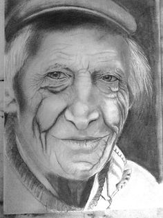 'Every line tells a tale by Lesley Kalibabka. 16x20 soft graphite pencil used with blending stump. One of my favourite subjects a face etched with years of experience.