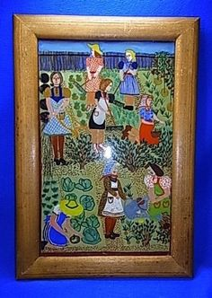 Vintage German 50´s behind Glass Painted Picture Frame Women in Garden #BY2 #Modernism