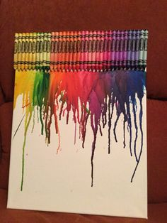 Crayon art on a canvas it's easy and fun! Just glue the crayons at the top and melt it with a hair dryer!!