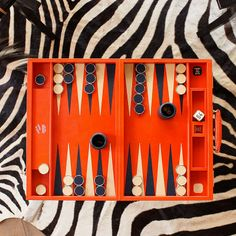 Tangerine Leather Challenge Size Backgammon Set By Geoffrey Parker...