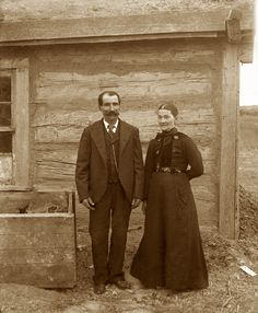 Father Ambrose Mattingly took pictures from several South Dakota Indian Reservations including the Standing Rock, Yankton, Lower Brule, and Crow Creek.  He took this picture of homesteaders in front of their prairie home near Stephan, S.D.  This type of home was quite common along with homes made of sod, or 'soddies,' among prairie homesteaders in the late 1800s.