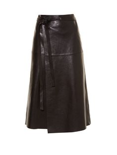 For Pre-AW16, Isabel Marant favours midi-length hemlines. This black leather Candy skirt is designed to wrap around the waist and tie up with a thin black belt, before falling to the calf in an A-line shape. Try it with the label's Victorian-inspired blouse for an elevated everyday look.