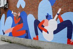 Green alley mural by Cecile Gariepy Murals Street Art, Graffiti Murals, Street Art Graffiti, Mural Wall Art, Mural Painting, Navidad Simple, Office Mural, Garden Mural, Deco Studio