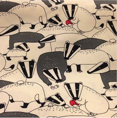 """Limited Stock Japanese Cotton 44"""" wide Badgers Only $27.99/yard So Cute!!!"""