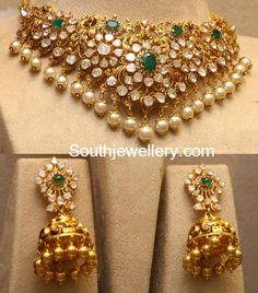 Flat Diamond Peacock Choker and Jhumkas