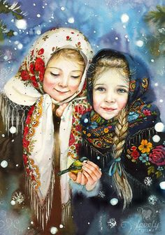 VK is the largest European social network with more than 100 million active users. Russian Folk Art, Ukrainian Art, Christmas Scenes, Christmas Art, Art Pictures, Photos, Christmas Illustration, Illustration Girl, Vintage Christmas Cards