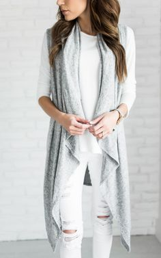 f83ba56df1d86 Grey waterfall long vest Sweater Vest Outfit