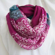 Plum Grey and Blue Filigree  Color Block Infinity by elgies, $18.00