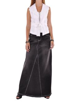 """Skirt details: * floor length 42.5"""" * regular fit * stretch mid-weight black denim * five pockets A-line style * wrinkle effect & embroidered back pockets * 98% cotton, 2% spandex * You're destined to"""