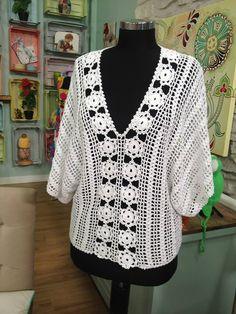 """Derya Baykal - Deryanın Dünyası -""""Çok şık yazlık Bluz yapımı""""-29.04.2015 Crochet Tunic Pattern, Crochet Lace Edging, Crochet Poncho, Cotton Crochet, Crochet Cardigan, Love Crochet, Crochet Yarn, Knit Crochet, Crochet Patterns"""