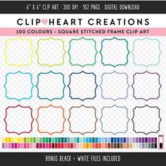 100 Stitched Bracket Frames Clipart, Commercial use, PNG,  Digital clip art, Digital images, Rainbow digital scrapbooking clip art, frames