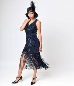 Preorder -  Iconic by UV Black  Blue Beaded Mesh Isadora Fringe Flapper Dress $268.00 AT vintagedancer.com