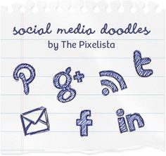 Free Social Media Icon Doodles - The Pixelista Social Media Buttons, Social Media Icons, Social Networks, Social Media Marketing, Badge Icon, Blog Design Inspiration, Branding, Student Engagement, Blog Tips