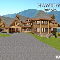Introducing the 15281 Hawkeye floor plan! Bed and breakfast at it's finest! A beautiful, huge lodge 5 or 6 Bedrooms and with a stunning exposed post and beam ceiling in the great room, so much space here, can be customized to suit your requirements!  Open and airy, and so much space another gorgeous design😍  #lodges #postandbeam #loghomebulders #loghome #loghomelove #floorplans #uniquedesigns #vacationhomes #naturallypassive #customloghomes #loghomefloorplans #loghomelove #loghomelife Floor Plan With Dimensions, Log Cabin Homes, Log Cabins, Log Home Floor Plans, Log Home Designs, Timber House, Building Design, Great Rooms, Architecture Design