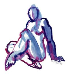 "Saatchi Art Artist Françoise Zia; Drawing, ""Woman sitting in blue 24"" #art"