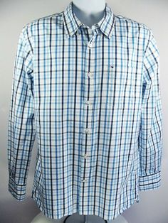 9faa90cf TOMMY HILFIGER Mens Casual Shirt Custom Fit Blue White Plaid Check Size 16  ½ -17