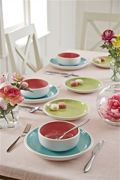 Buy Una Pastel Dinner Set from the Next UK online shop Table Setting Inspiration, Formal Shirts For Men, Beautiful Interior Design, Dinner Sets, Deco Table, Next At Home, Serving Dishes, Kitchen Interior, Sweet Home