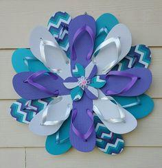 Beautiful Handmade Flip flop Wreath Purple by TheFlipFlopDaisy