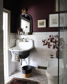 Is anyone else absolutely swooning over @ispydiy's bathroom refresh? Suddenly we're inspired to paint everything this rich shade of eggplant! Diy Bathroom, Windowless Bathroom, Purple Bathrooms, Bathroom Refresh, Painting Bathroom, Dining Table Chairs, Bathroom Color Schemes, I Spy Diy, Wall Color