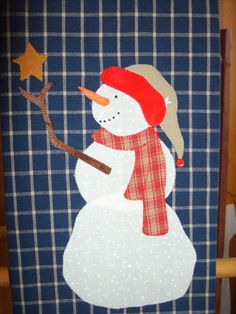 Snowman applique towel.