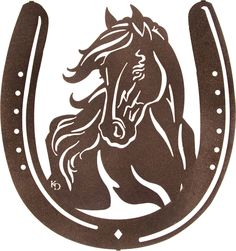 Horse inside Horseshoe Laser Cut Metal Wall Art