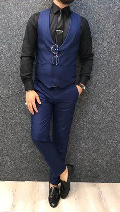 Apollo Sax SlimFit Suit is part of Suit vest - Product SlimFit vest suit Color code New Sax Size 464850525456 Suit material Wool, Poly Machine washable No Fitting Slimfit Remarks Dry Cleaning Mens Casual Suits, Mens Fashion Suits, Mens Suits, Blazers For Men Casual, Mens Suit Vest, Suit Men, Formal Dresses For Men, Formal Men Outfit, Best Suits For Men